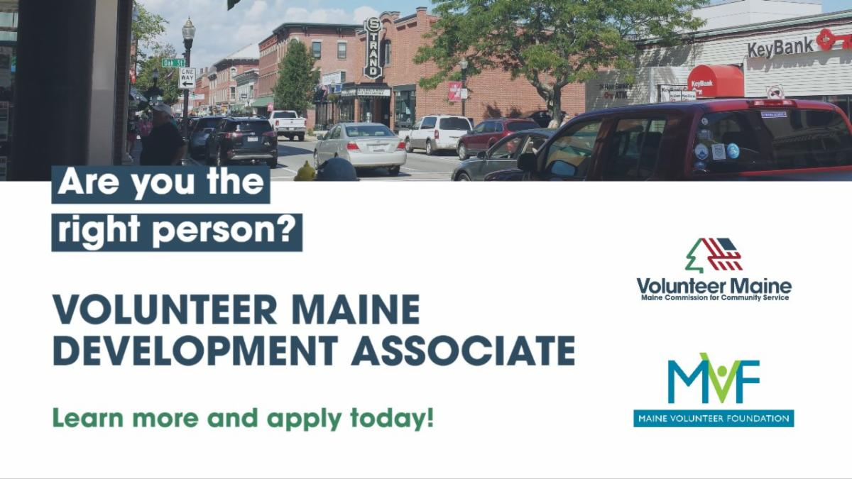 Decorative promotional image for Volunteer Maine Development Associate position.