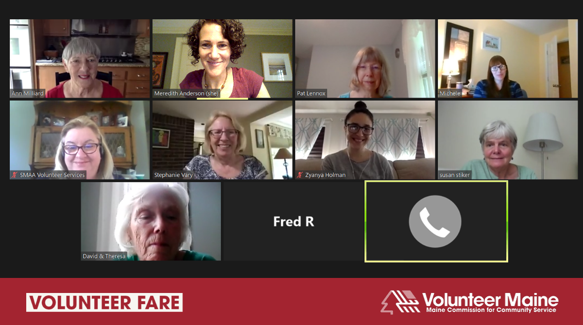 Decorative graphic featuring a screenshot of 9 people in a Zoom meeting
