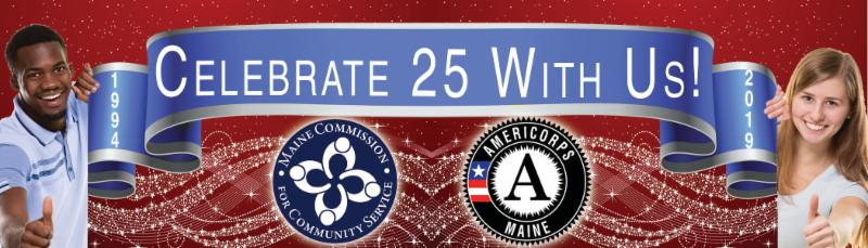 blue ribbon with Celebrate 25 With Us