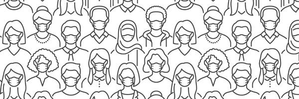 illustration of masked people