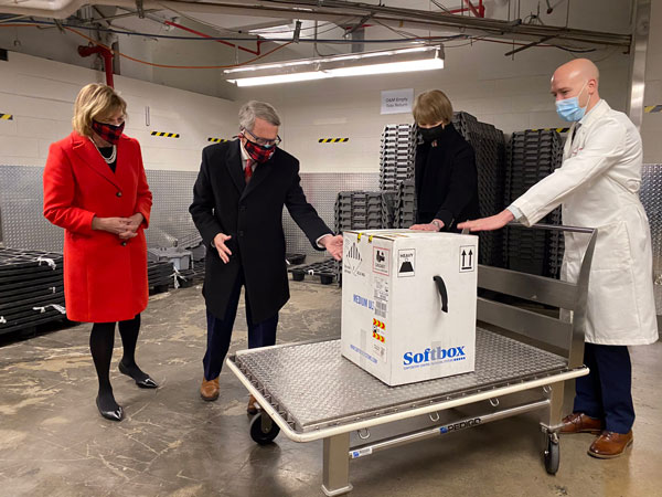 Gov. Mike Dewine as the first doses of a COVID 19 vaccine arrive