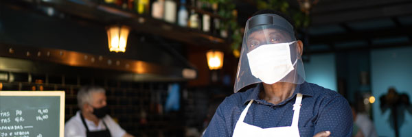 man wearing face covering