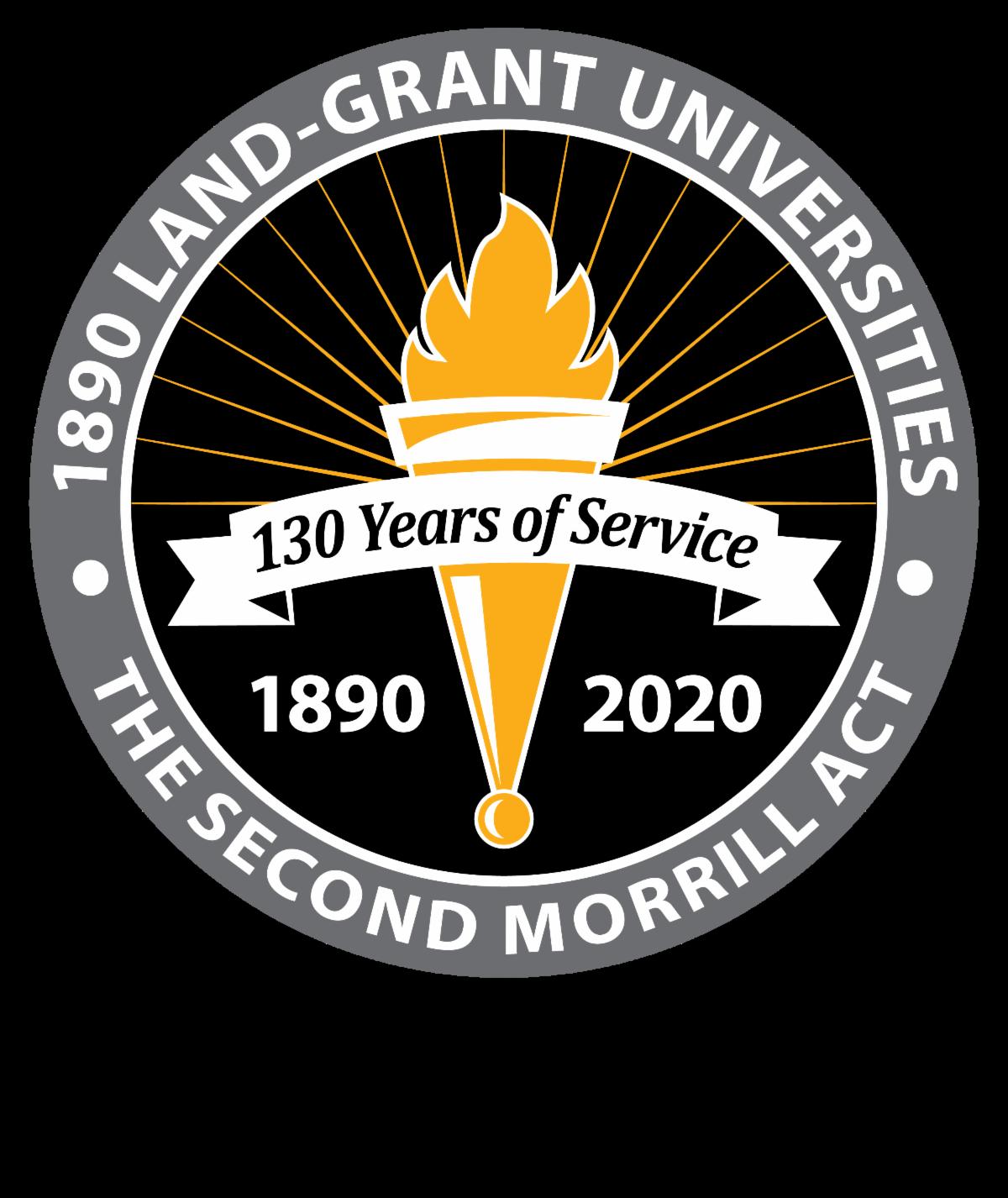 1890 Land-Grant Universities 130 Years of Service logo.