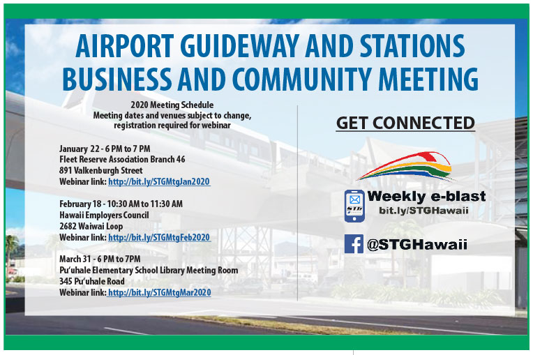 "Flier image with train photo in the background. Headline: ""AIRPORT GUIDEWAY AND STATIONS BUSINESS AND COMMUNITY MEETING"" Body text: ""2020 Meeting Schedule Meeting dates and venues subject to change, registration required for webinar January 22 - 6 PM to 7"""