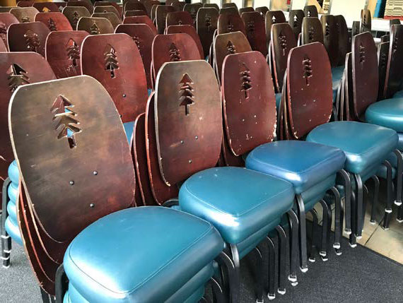 A row of chairs. They're free!