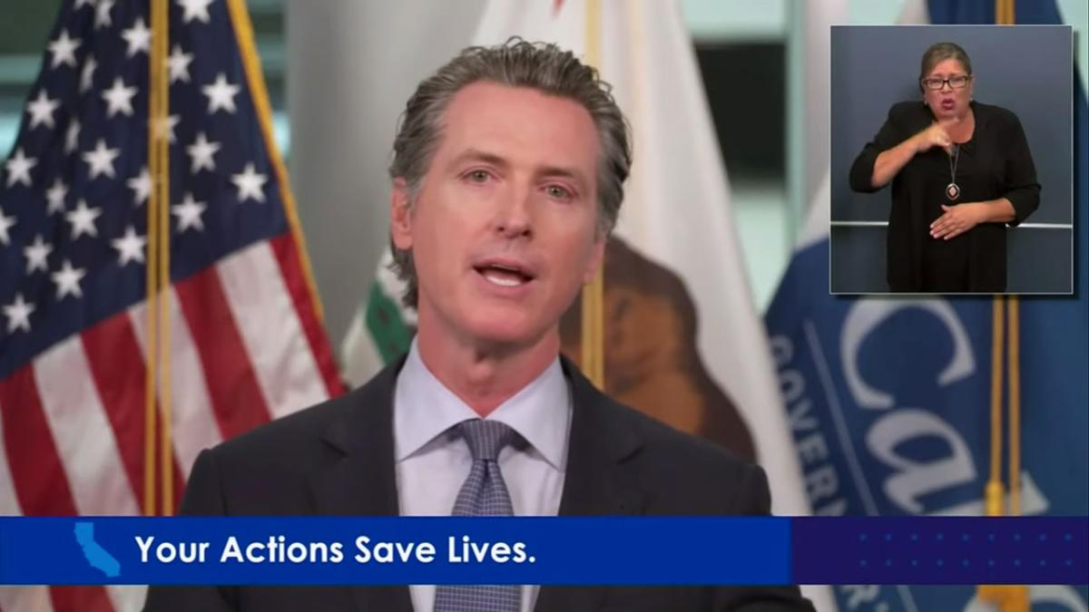 Screenshot of Gavin Newsom speaking