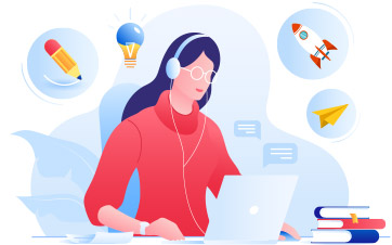 Illustration: Woman at a computer