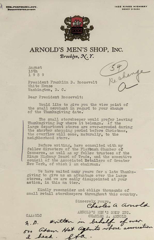 A letter to FDR about the Thanksgiving holiday