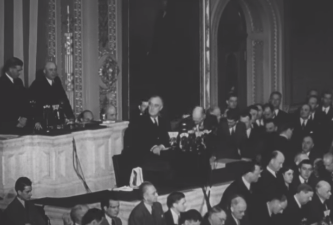 """FDR delivering """"date which will live in infamy"""" speech"""