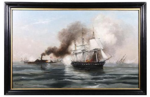 Rebel Ironclad Merrimac Destroying the US Frigate Congress