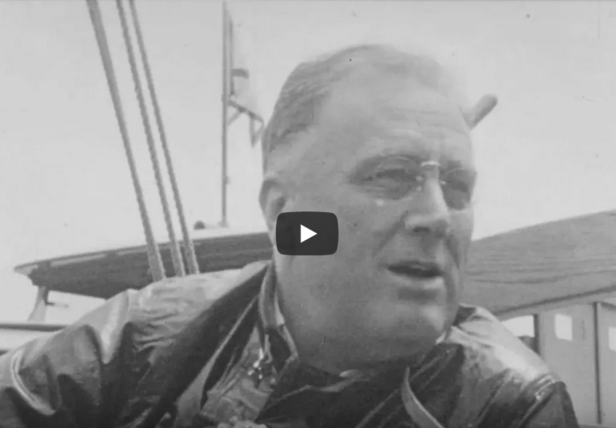 In June 1933, at the end of his first 100 days in office, President Franklin D. Roosevelt went sailing aboard the Amberjack II with Eleanor Roosevelt, family, and friends from Marion, Massachusetts, to Campobello Island in New Brunswick, Canada.