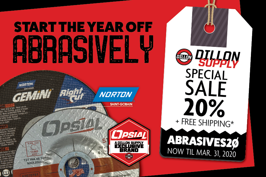 Start the year off abrasively - save 20% on select norton and opsial abrasives plus free shipping over $250 purchase