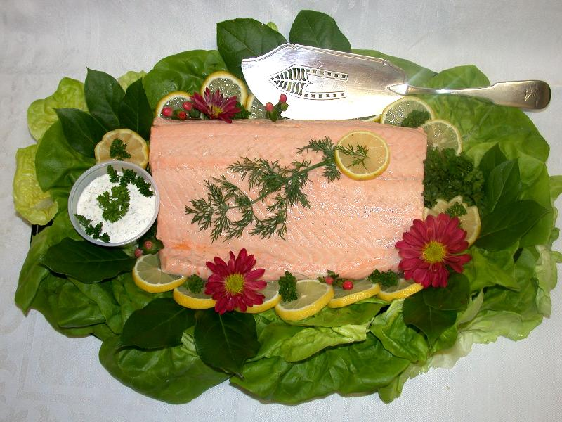 poached salmon tray