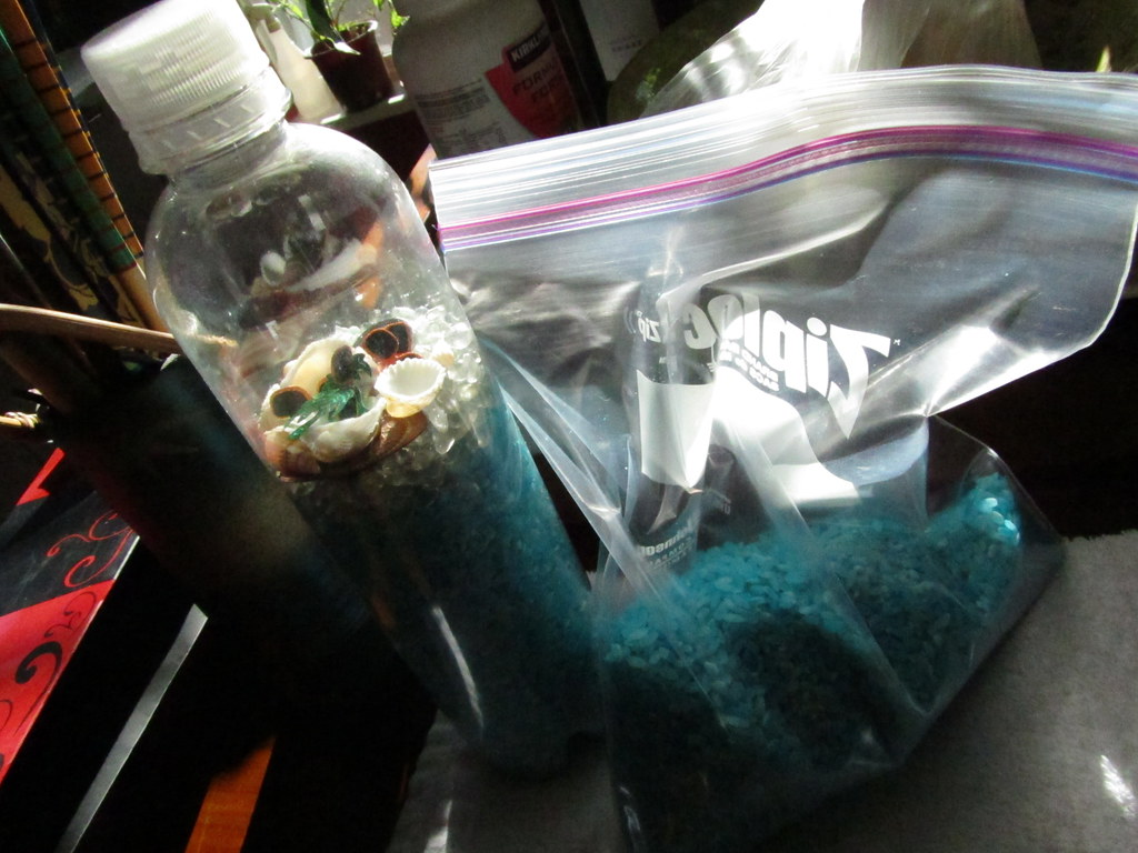 Bag of blue rice and water bottle filled with sand and shells