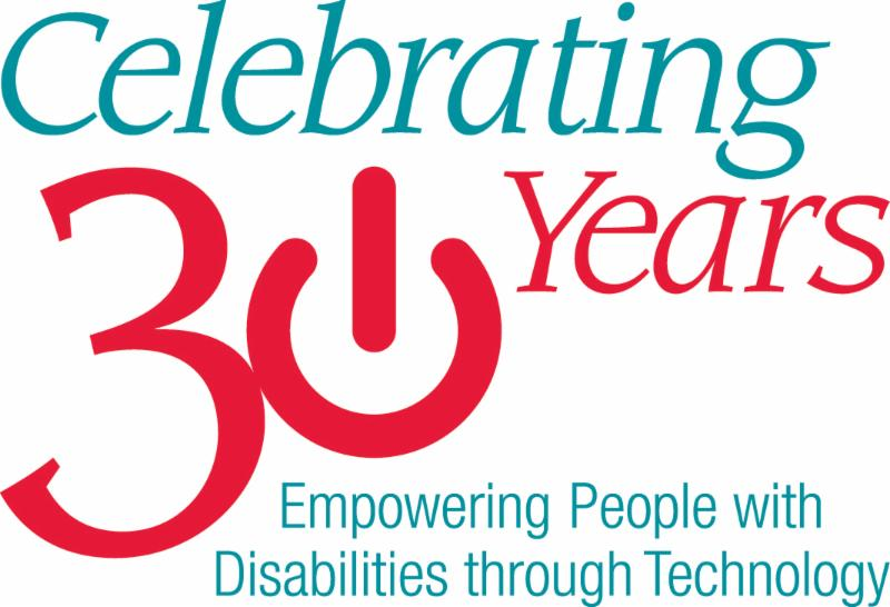 Logo Celebrating 30 Years of Empowering People with Disabilities through technology