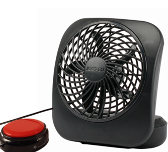 Fan with a red switch attached