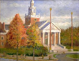 Chadwick painting of Newton City Hall
