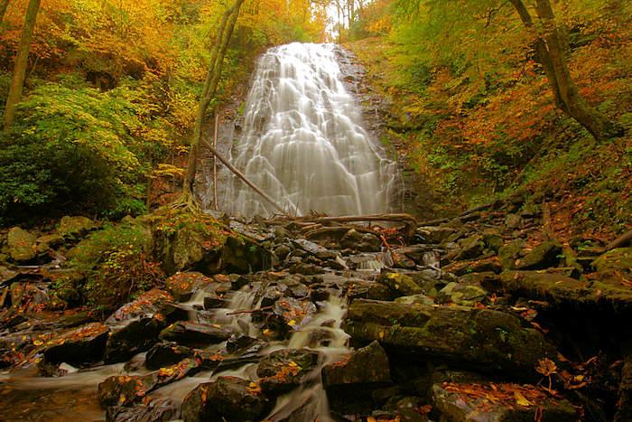 waterfall in fall colors
