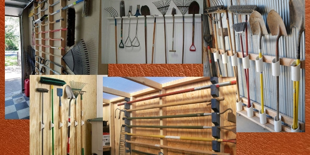 picture of various garden tools properly organized and stored in garden shed