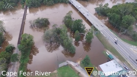 aerial view of Cape Fear River after storm surge