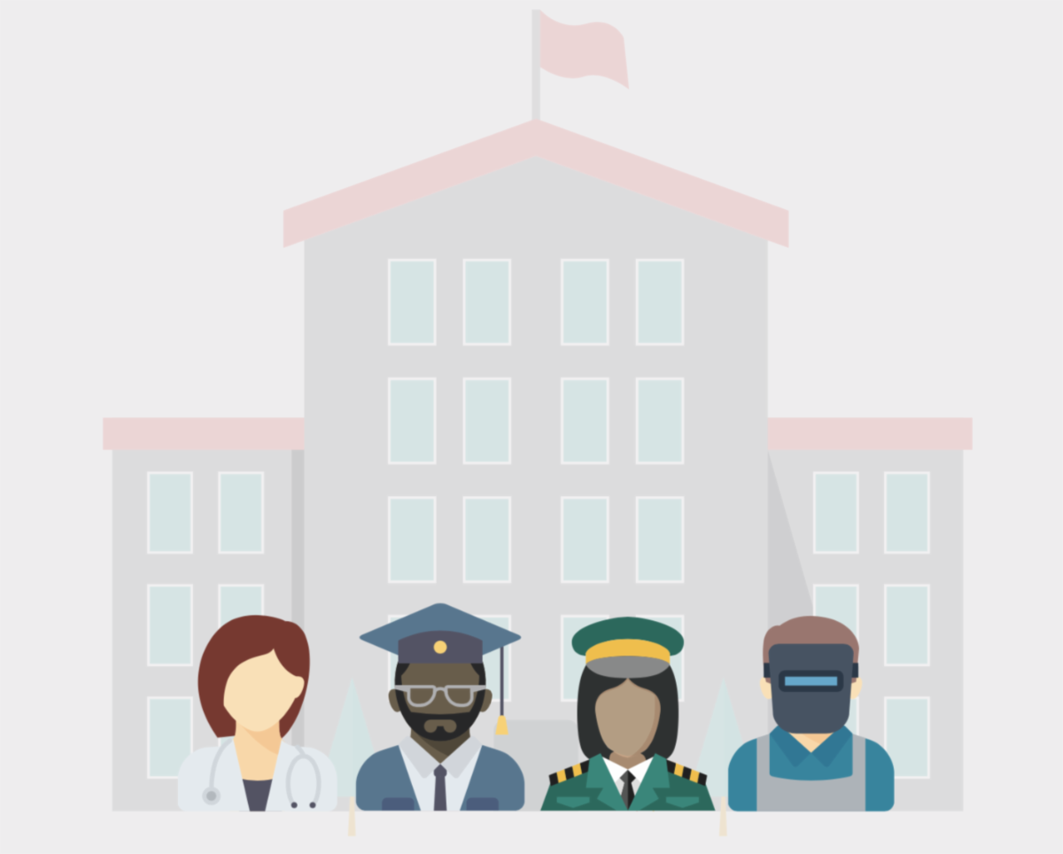 4 faceless people standing in front of a school building wearing career specific clothing