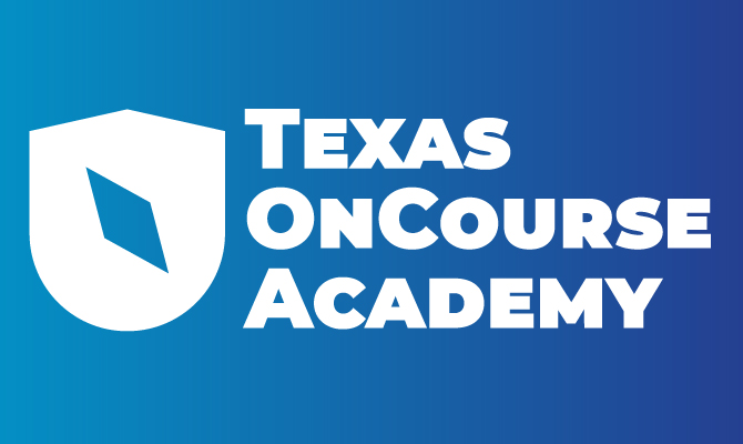 Texas OnCourse Academy Logo with blue and white text