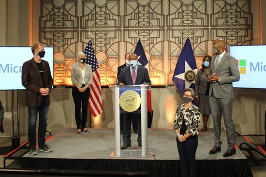 City of Houston Mayor Sylvester Turner with representatives of Microsoft and other partners during the Accelerate: Houston press event Aug. 24, 2020