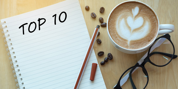 notepad with Top 10 written at top