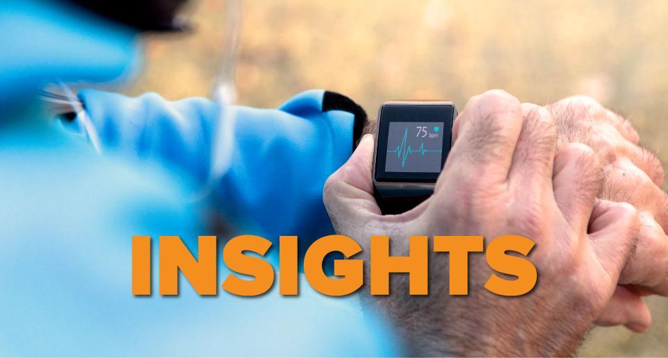 Insights graphic - runner checks EKG on watch