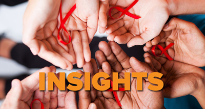 Insights HIV graphic - hands holding red HIV ribbons