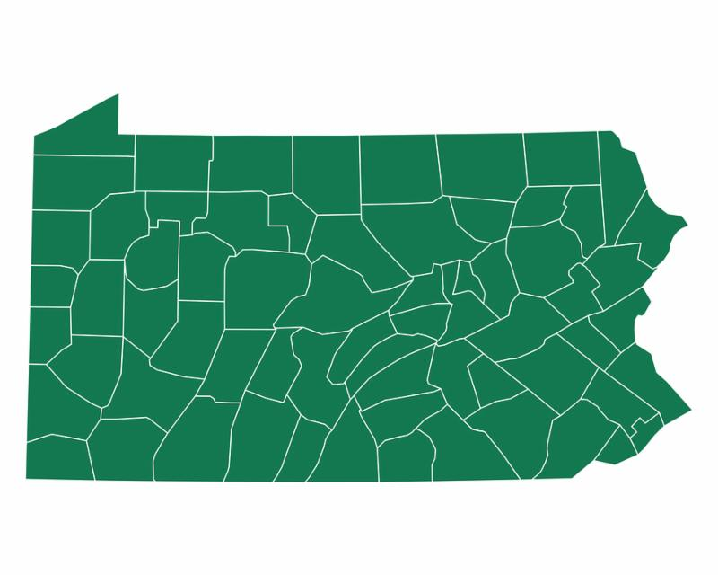 Detailed and accurate illustration of map of Pennsylvania