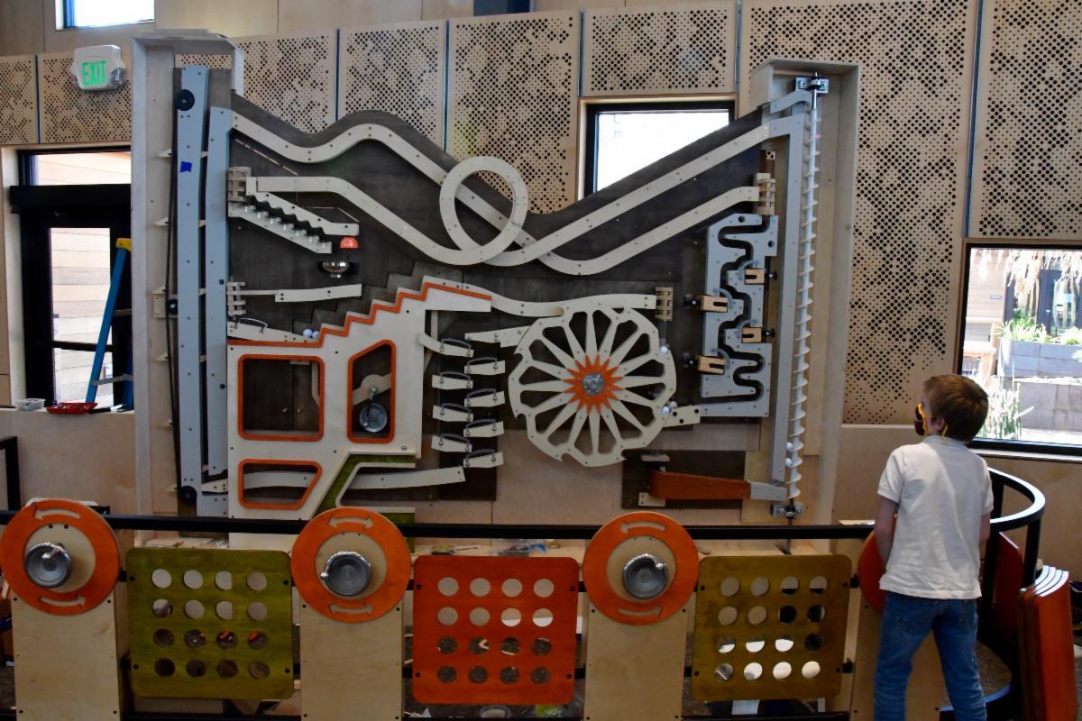 The Junior Museum & Zoo's new Ball Machine exhibit.