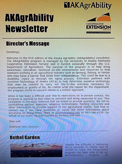 Front page of newsletter from Alaska AgrAbility with their logo in the upper right corner and the Director's Message in the center