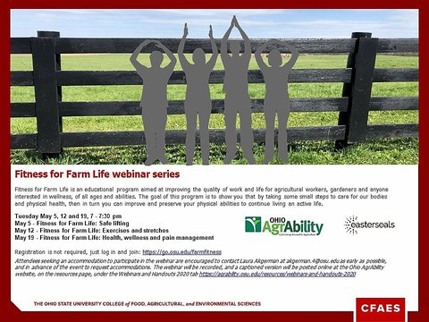 Poster advertising Fitness for Farm Life webinar series - showing cutout of 4 people doing exercises in front of a pasture fence