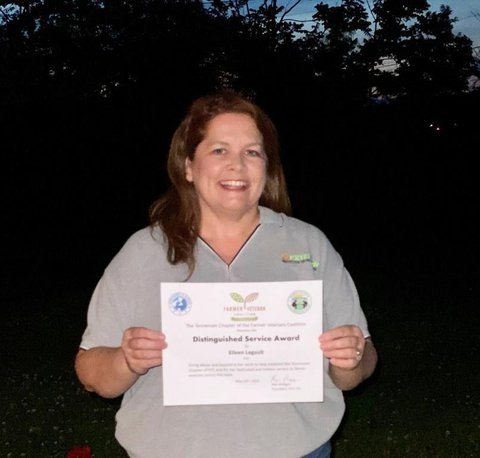 """Eileen Legault (TN) holding first FVC TN """"Distinguished Service Award"""" certificate"""