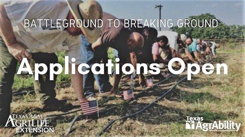 "BattleGround to Breaking Ground ""Applications Open"" poster"