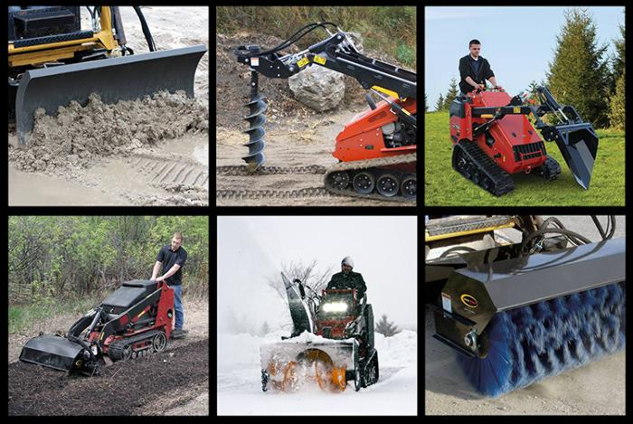 Composite photo of six mini skid steer attachments. Scraper. auger. transplanting shovel. cultivator. snow thrower. rotary broom.