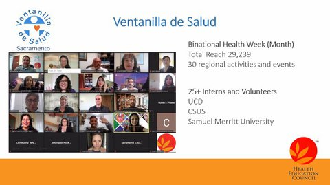 Photo of 7 people in a Zoom meeting on the right and in the center the words COMITE ORGANIZADOR in Spanish and below that the logos of 8 organizations.