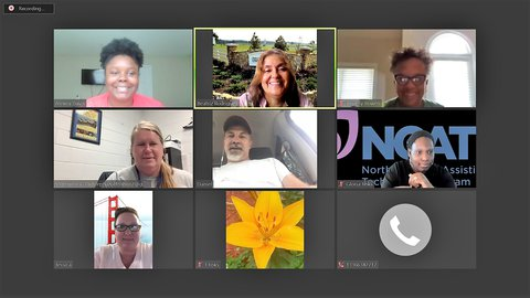 Computer screen shot of NC AgrAbility Peer Networking ZOOM meeting showing 7 faces and a yellow flower