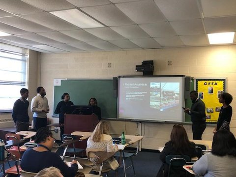NCA&T students in a classroom doing project presentation of a marketing plan.