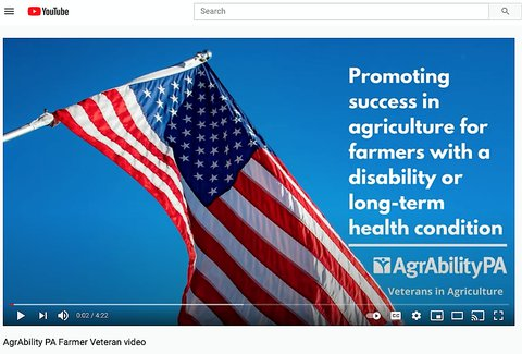 Pic of an American flag against a bright blue sky and the words in white - Promoting success in agriculture for farmers with a disability or long-term health condition - AgrAbility PA