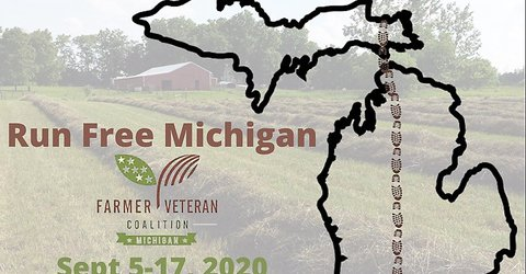 Picture of an outline map of Michigan with shoe prints running from north to south and a caption reading Run Free Michigan Farmer Veteran Coalition