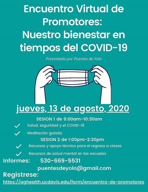 Promotores flyer in Spanish advertising a COVID-19 event