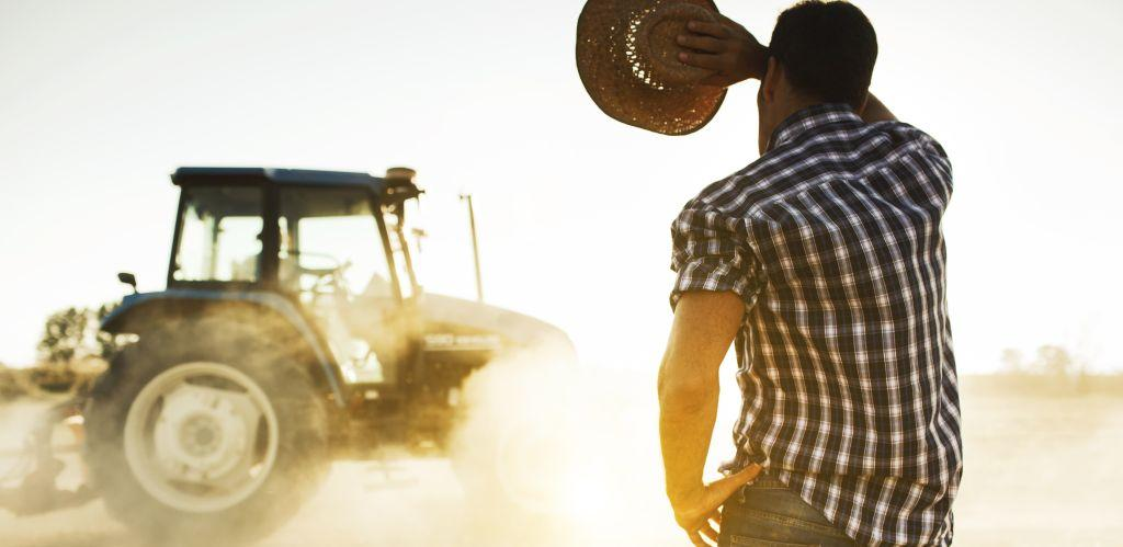 Farmer with back to camera wiping brow while holding straw hat while tractor plows in background