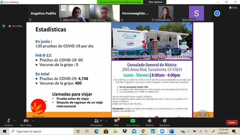Promotores COVID-19 Vaccination Informational Webinar screenshot of Zoom window with PowerPoint slide in Spanish.