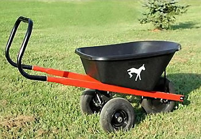 Wheelbarrow with one front wheel and two back wheels and a long handle bending to vertical position