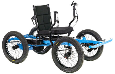 Picture of black chair with two hand controls on each side mounted on a blue steel frame with 4 bicycle-type tires.