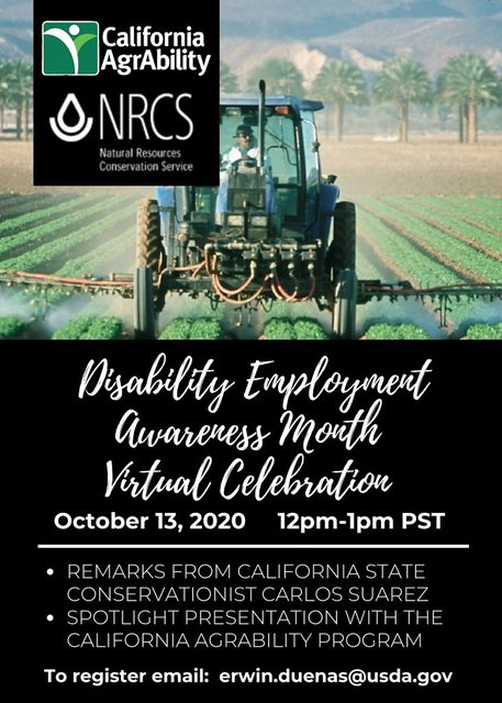 oncoming tractor spraying green rows bottom posted black background with white text saying Disability Employment Awareness Month Virtual Celebration