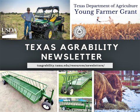 Front of the TX AgrAbility Newsletter with 5 pictures on it.