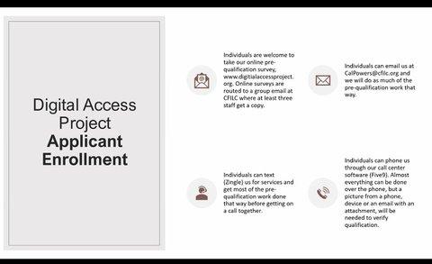 Screenshot of the Digital Access Project Applicant Enrollment form.